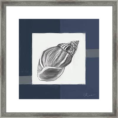 Navy Seashells I-navy And Gray Art Framed Print by Lourry Legarde