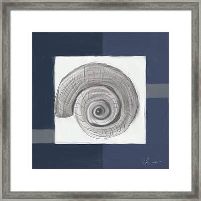 Navy Seashells II - Navy And Gray Art Framed Print by Lourry Legarde