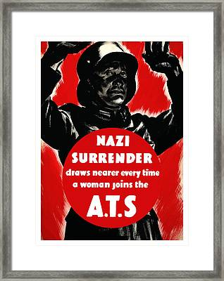 Nazi Surrender Draws Nearer Every Time A Woman Joins The Ats Framed Print by War Is Hell Store