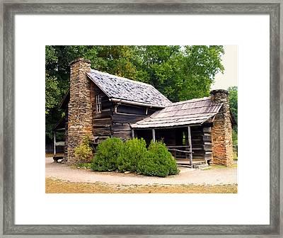 Nc Log Cabin Home Framed Print by Chris Flees