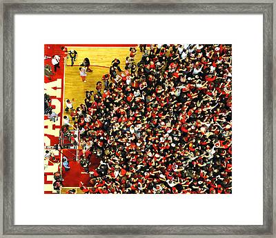 Nc State Fans Celebrate At Pnc Arena Framed Print by Replay Photos