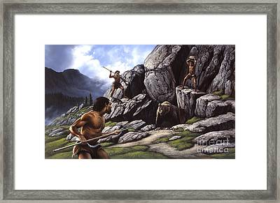 Neanderthals Hunt A Cave Bear Framed Print by Jerry LoFaro