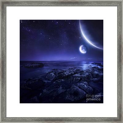 Nearby Planets Hover Over The Ocean Framed Print by Evgeny Kuklev