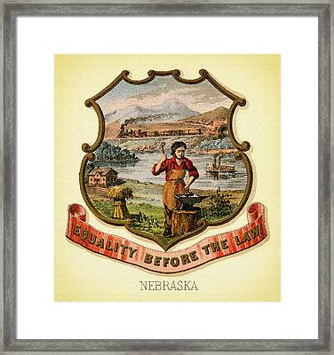 Nebraska Coat Of Arms -1876 Framed Print by Mountain Dreams