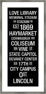 Nebraska College Town Wall Art Framed Print by Replay Photos