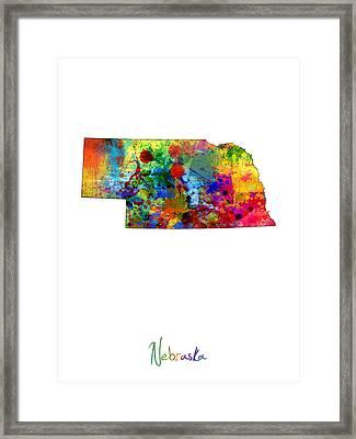 Nebraska Map Framed Print by Michael Tompsett