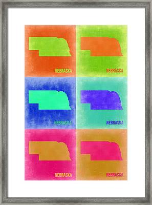Nebraska Pop Art Map 2 Framed Print by Naxart Studio