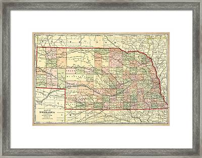 Nebraska Vintage Antique Map Framed Print by World Art Prints And Designs