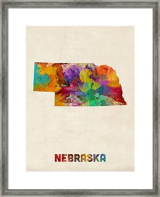 Nebraska Watercolor Map Framed Print by Michael Tompsett
