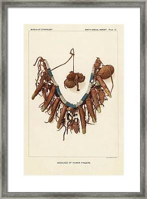 Necklace Of Human Fingers Framed Print by Art And Picture Collection/new York Public Library