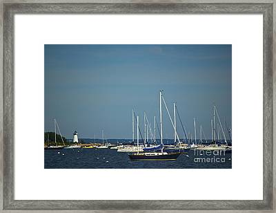 Ned's Point Lighthouse With Sailboats Framed Print by Amazing Jules