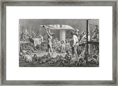 Slaves In The Bilge Framed Print by Johann Moritz Rugendas