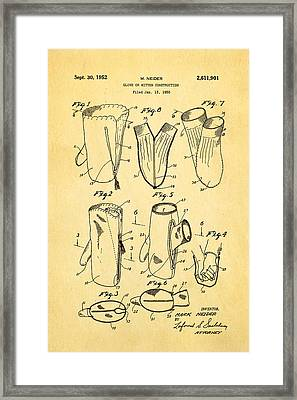 Neider Dual Person Mitten Glove Patent Art 1952 Framed Print by Ian Monk