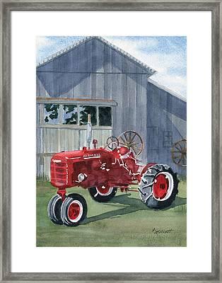 Neighbor Don's Farmall Framed Print by Marsha Elliott