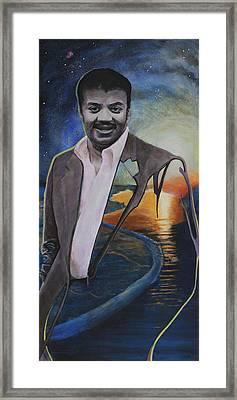 Neil Degrasse Tyson- Shore Of The Cosmic Ocean Framed Print by Simon Kregar