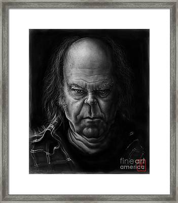 Neil Young Framed Print by Andre Koekemoer