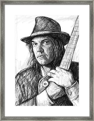 Neil Young Art Drawing Sketch Portrait Framed Print by Kim Wang
