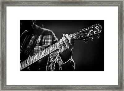 Close Up Of Neil Young's Hand Playing Guitar  Framed Print by The  Vault - Jennifer Rondinelli Reilly