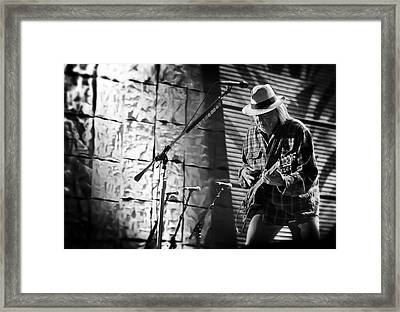 Neil Young Live In Concert Framed Print by The  Vault - Jennifer Rondinelli Reilly