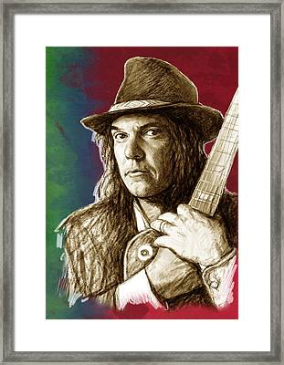 Neil Young - Stylised Pop Art Drawing Portrait Poster  Framed Print by Kim Wang
