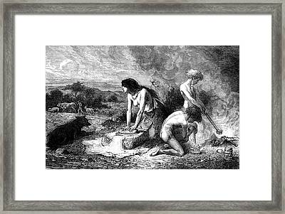 Neolithic Family Making Bread Framed Print by Collection Abecasis
