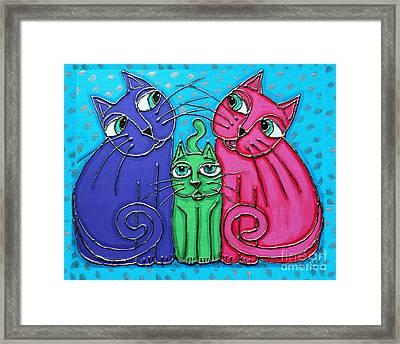 Neon Cat Trio #2 Framed Print by Cynthia Snyder
