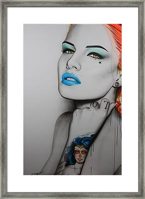 'neon Day Of The Dead' Framed Print by Christian Chapman Art