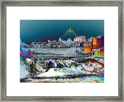 Neon Lights Of Spokane Falls Framed Print by Carol Groenen