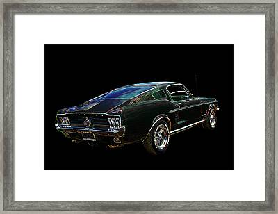 Neon Mustang Fastback 1967 Framed Print by Gill Billington