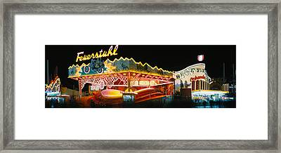 Neon Sign Lit Up At Night, Oktoberfest Framed Print by Panoramic Images