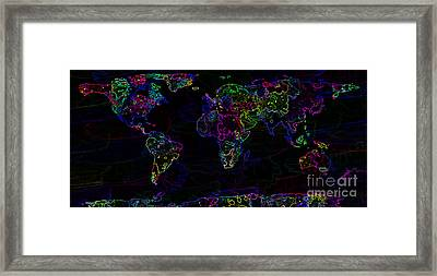 Neon World Map Framed Print by Zaira Dzhaubaeva