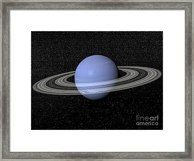 Neptune And Its Rings Against A Starry Framed Print by Elena Duvernay