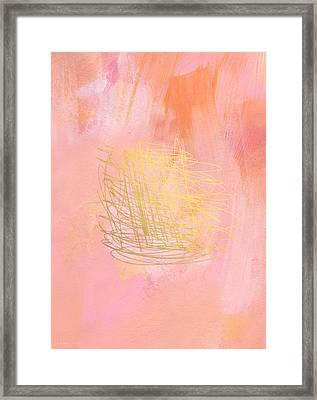 Nest- Pink And Gold Abstract Art Framed Print by Linda Woods