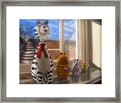 Nested Cats Framed Print by LaVonne Hand