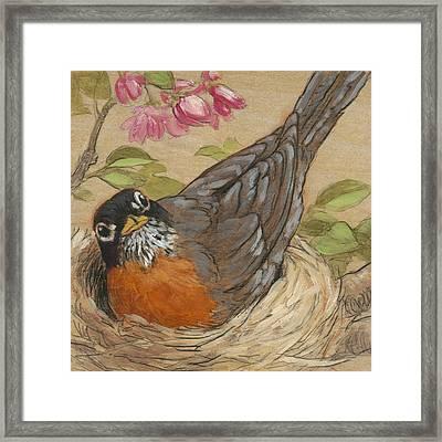 Nesting Robin Framed Print by Tracie Thompson