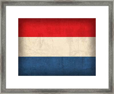 Netherlands Flag Vintage Distressed Finish Framed Print by Design Turnpike