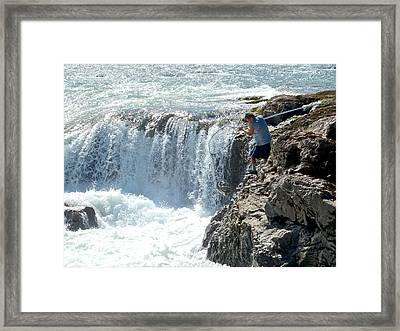 Netting Fish From The Bulkley River In Moricetown-bc Framed Print by Ruth Hager