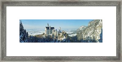 Neuschwanstein Castle Panorama In Winter Framed Print by Rudi Prott