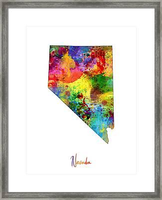 Nevada Map Framed Print by Michael Tompsett