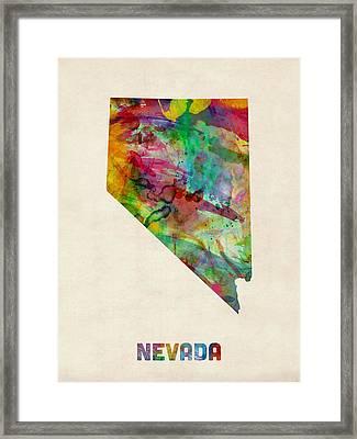 Nevada Watercolor Map Framed Print by Michael Tompsett