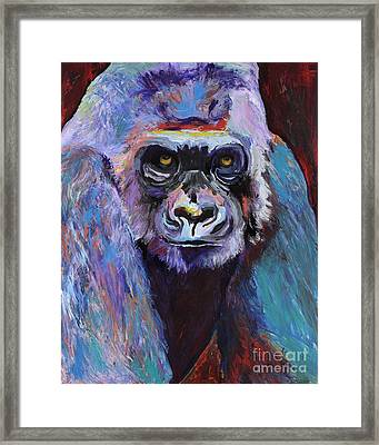 Never Date A Gorilla With A Nice Smile Framed Print by Pat Saunders-White