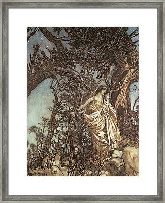 Never So Weary Never So Woeful Illustration To A Midsummer Night S Dream Framed Print by Arthur Rackham