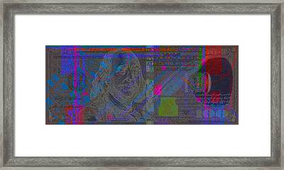 New 2009 Series Pop Art Colorized Us One Hundred Dollar Bill  V.2.1 Framed Print by Serge Averbukh