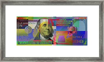 New 2009 Series Pop Art Colorized U. S. One Hundred Dollar Bill  V.3.0 Framed Print by Serge Averbukh