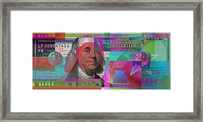 New 2009 Series Pop Art Colorized Us One Hundred Dollar Bill  V.3.2 Framed Print by Serge Averbukh
