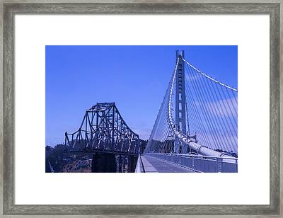 New And Old Bay Bridge Framed Print by Garry Gay