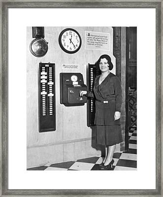 New Automatic Time Clock Framed Print by Underwood Archives