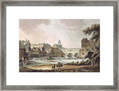 New Bridge, From Bath Illustrated Framed Print by John Claude Nattes