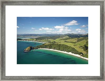 New Chums Beach, And Motuto Point Framed Print by David Wall