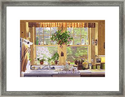 New England Kitchen Window Framed Print by Mary Helmreich